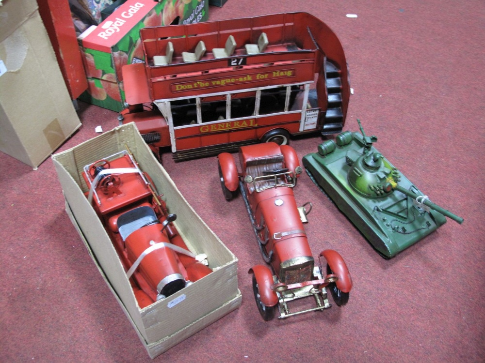 Lot 27 - Four Modern Tinplate Collectors Toys, including tank, fire engine, saloon car, and open top bus, (