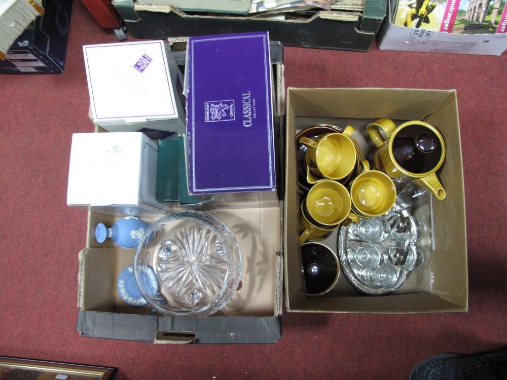 Lot 18 - Edinburgh Crystal Bowl, Bohemia posy, two vases all boxed, bowl, schooner set. Palissy coffee