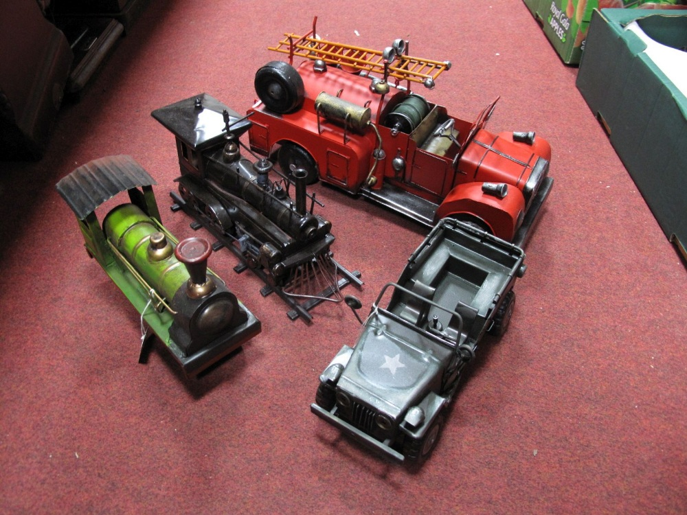 Lot 21 - Four Modern Tinplate Collectors Models, including two locomotives, fire engines and US military