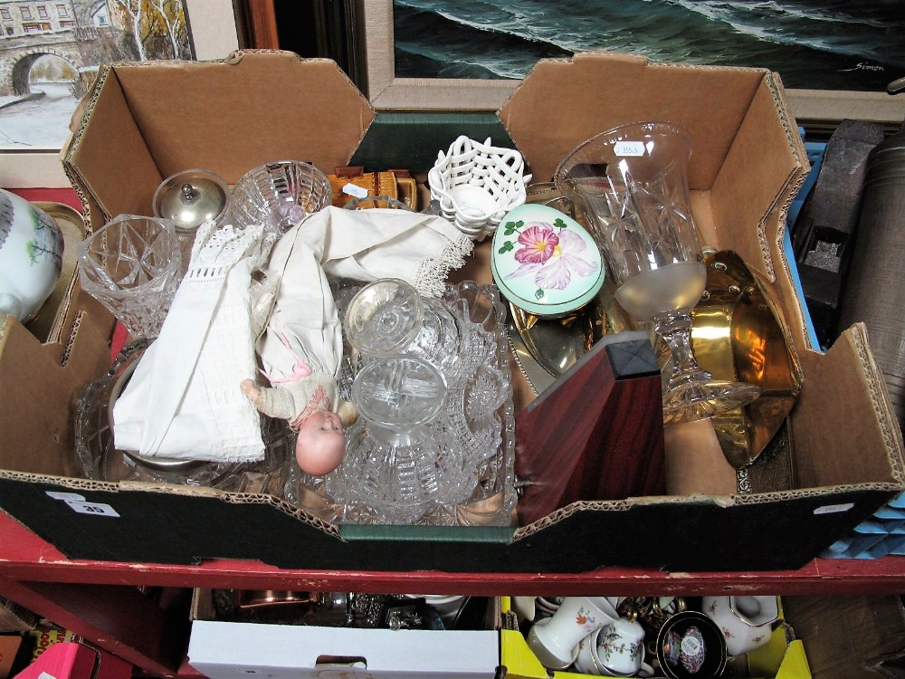 Lot 35 - A Moulded Glass Vase, sundae dishes, early XX Century doll, with a bisque head stamped GERMANY on