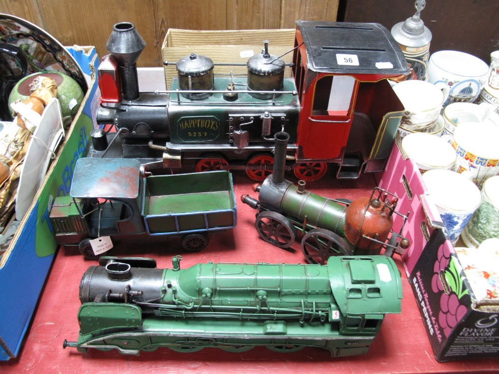 Lot 56 - Four Modern Tinplate Collectors Toys, including a 'Happy Boys' locomotive, a further locomotive,