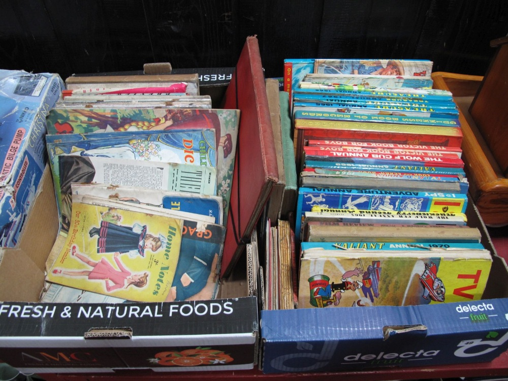 Lot 49 - Children's Books, Valiant books, Rupert books, no.54-55, The Animal World Book 1901 etc:- Two boxes