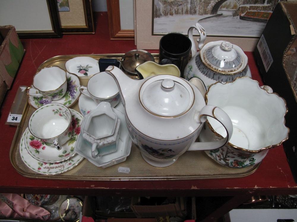 Lot 34 - A Royal Albert 'Silver Birch' Teapot, Ashdale jardinere, Tudor ware, jam pot, other ceramics- One