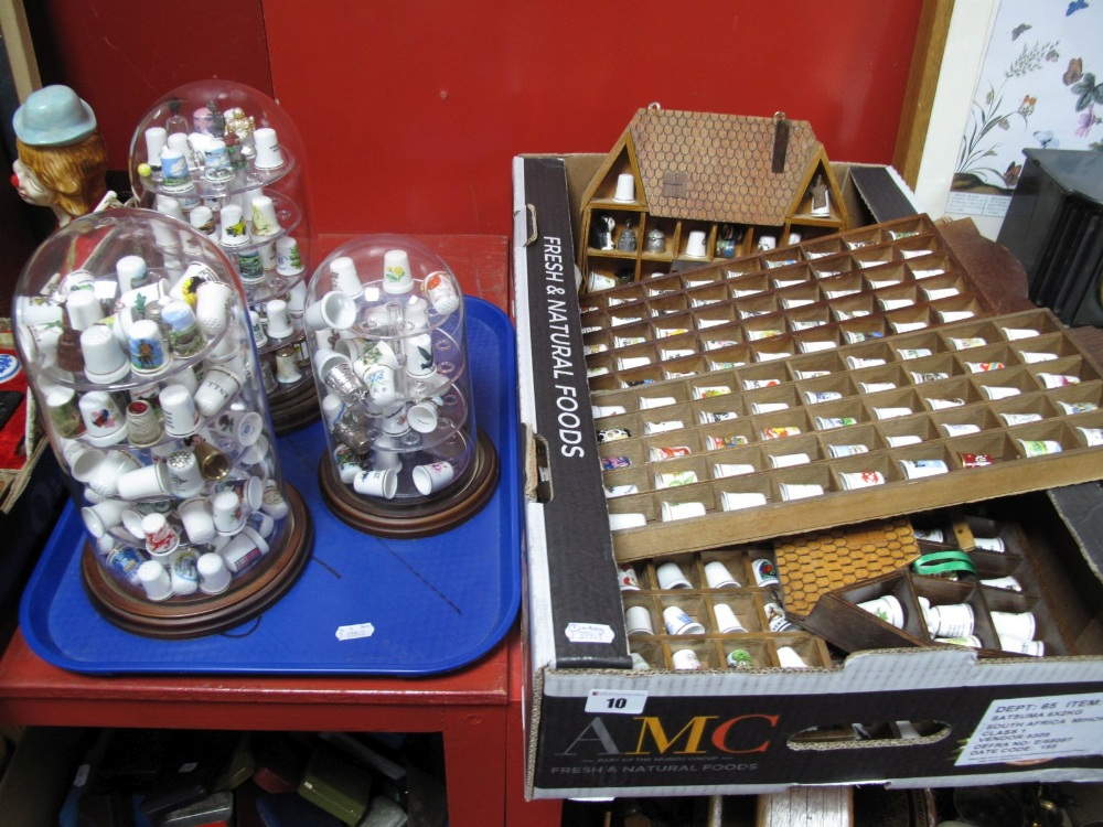 Lot 10 - A Collection of Over Two Hundred China Pieces, Glass, Pewter and Cloisonné Thimbles, housed in