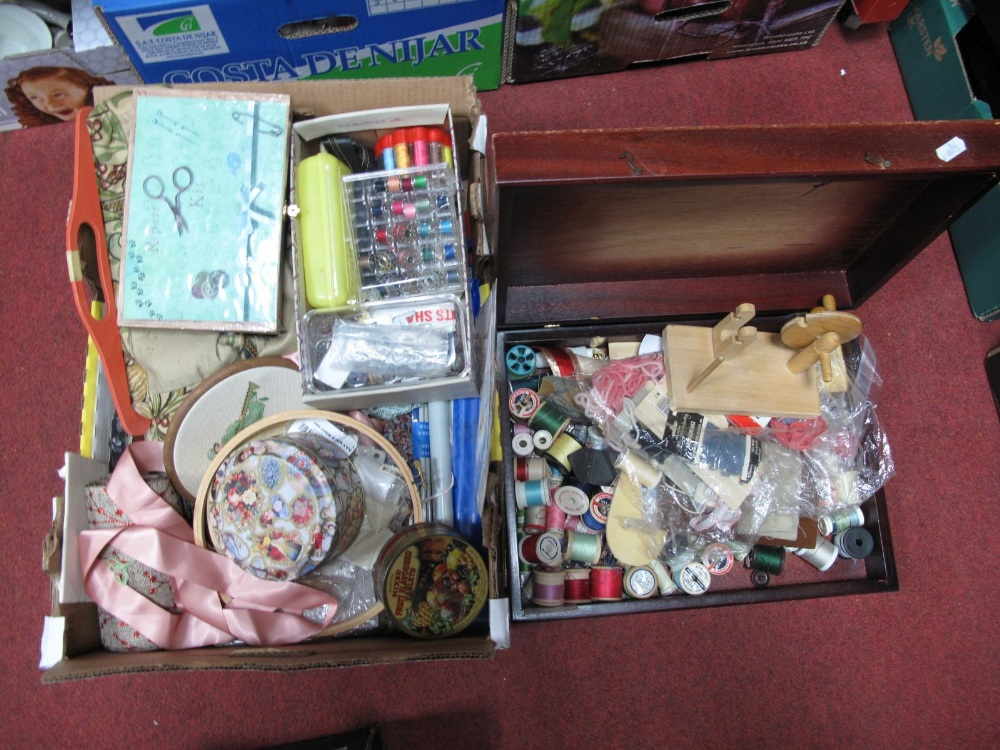 Lot 40 - A Quantity of Sewing and Knitting Accessories, including thread, cotton, needles, frames, repair