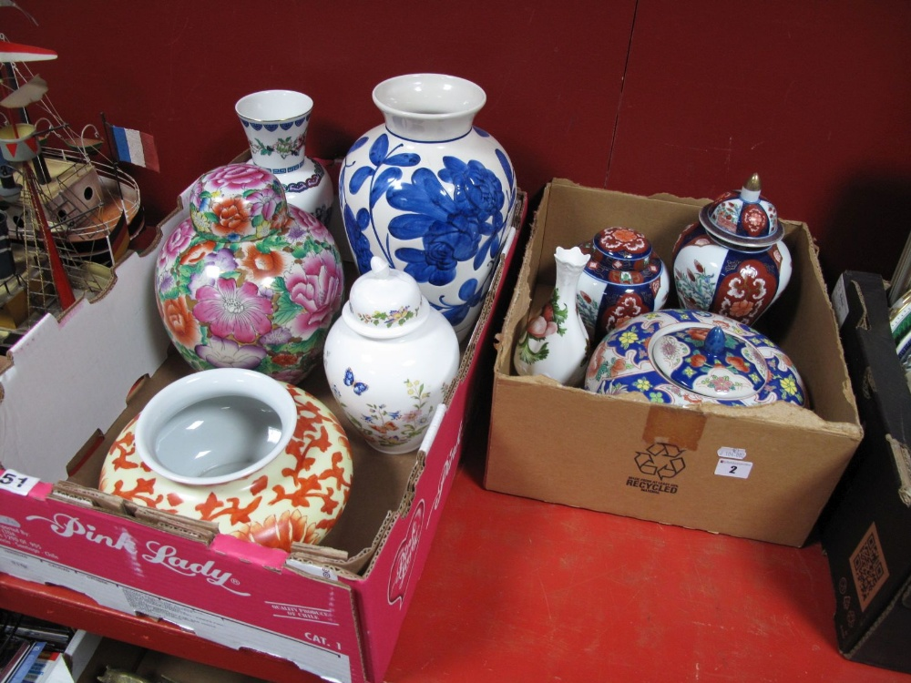 Lot 2 - A Aynsley 'Cottage Garden' Jar and Cover, Japanese and Chinese vases, etc:- Two Boxes