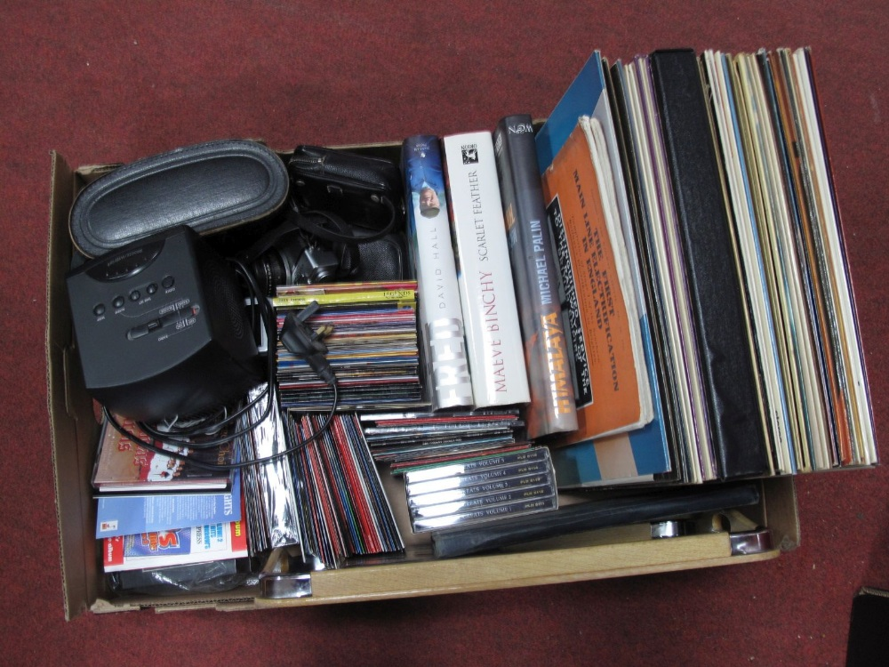 Lot 25 - Fuji Finepix J20 Digital Camera, Olympus 35 RD, cased binoculars, Sony alarm clock, cd's, other