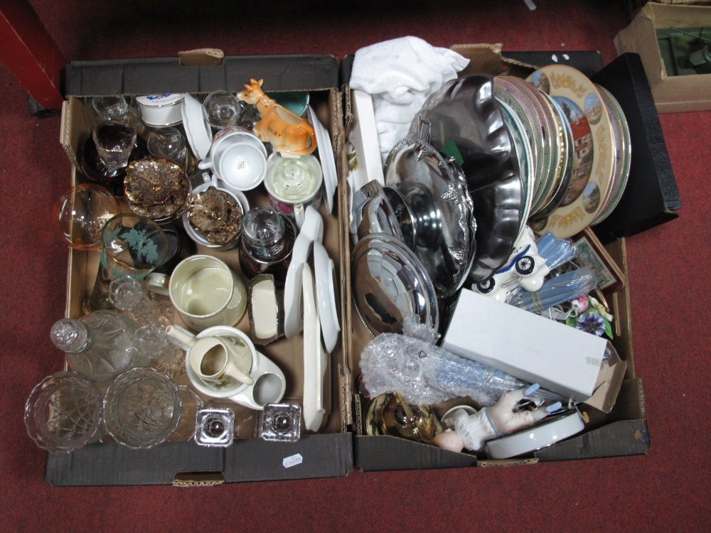 Lot 26 - Glassware, kitchenware, cutlery, plates, piano baby, etc:- Two Boxes