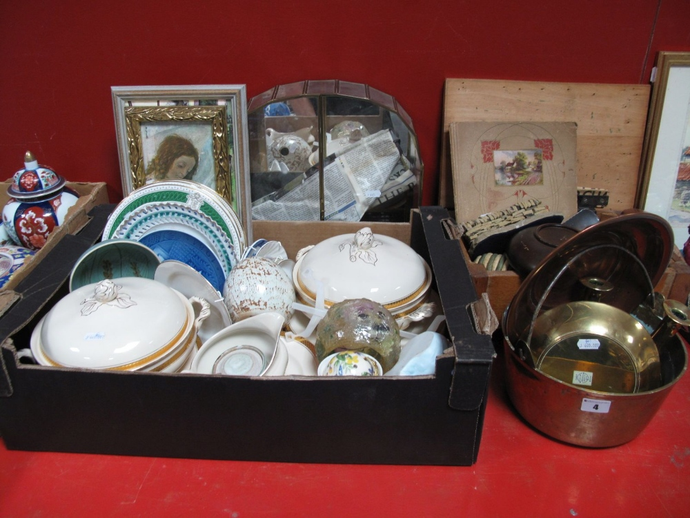 Lot 4 - A Brass Jam Pan, candlesticks, display unit, Agfa camera box, prints, Maddock, dinner service,