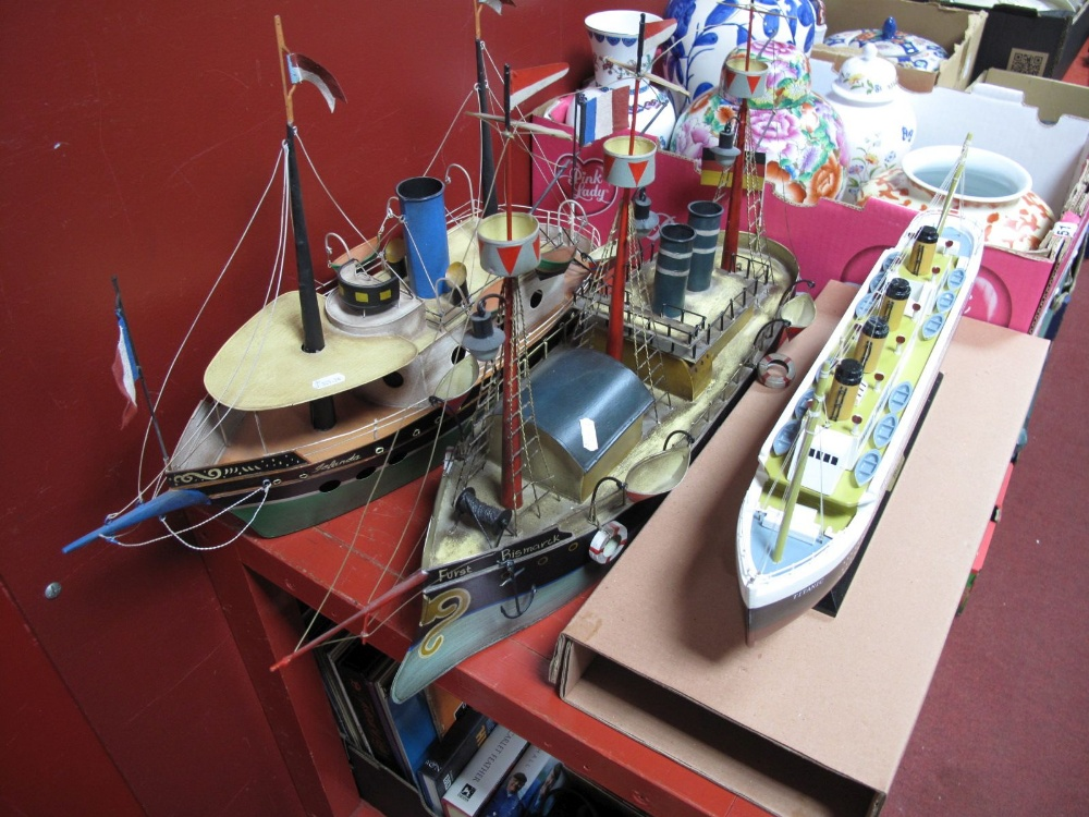 Lot 1 - A Modern Painted Wooden Model, of the 'Titanic' mounted on wooden plinth, length 49cms, and two