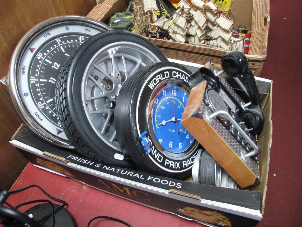 Lot 47 - Five Car Themed Clocks, to include 'Spirit of St.Louis' and associated wall phone:- One Box