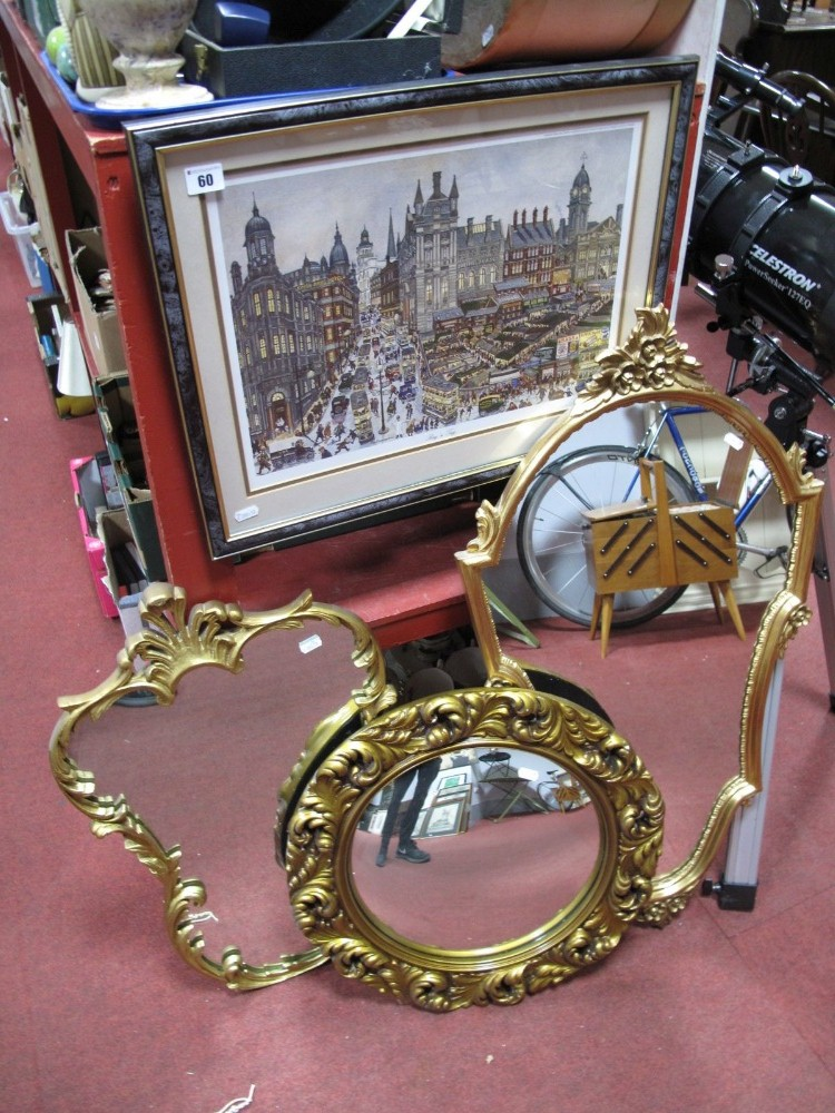Lot 60 - After George Cunningham 'Rag n Tag' Colour Print, and three gilt framed wall mirrors. (4)