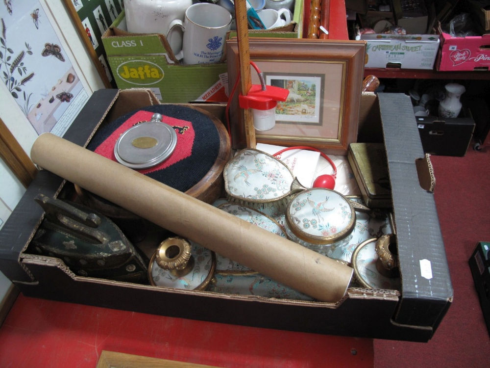 Lot 12 - A Singer 'Skirt Marker', Victorian footstool, mid XX Century dressing table set, linen, Kensitas