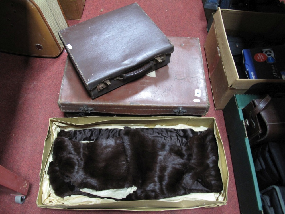 Lot 42 - Ladies Fur Stole, together with an early XX Century brown suitcase, and a smaller case.