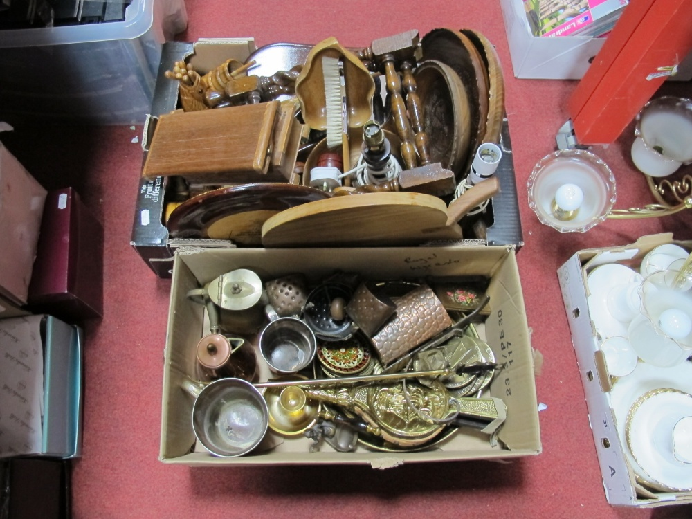 Lot 16 - Carved Wooden Bowls, frames, hall brush set, fruit bowls, trinket box, other wooden wares, Victorian