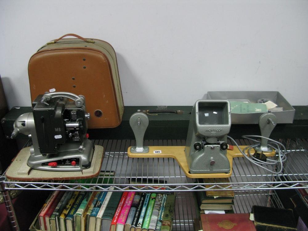 Lot 43 - A Zeiss Ikon (Stuttgart) Moviscop 8mm Film Viewer and Editor, a cased Bolex Paillard M8 projector, a