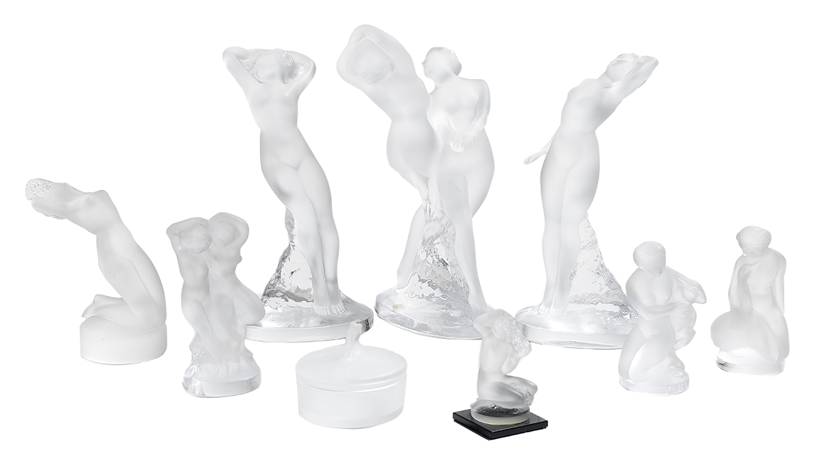 Lot 346 - Nine-Piece Collection of Signed Lalique Crystal