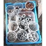 A small crate containing assorted nuts, bolts, washers, etc.