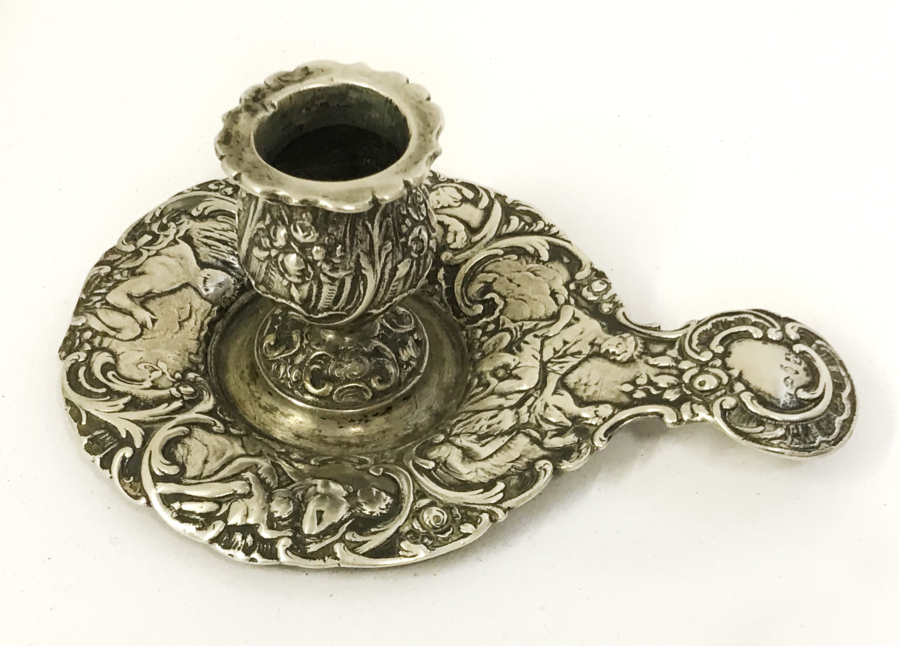 Lot 12A - ANTIQUE HALLMARKED SILVER FRENCH CHAMBERSTICK CANDLESTICK HOLDER