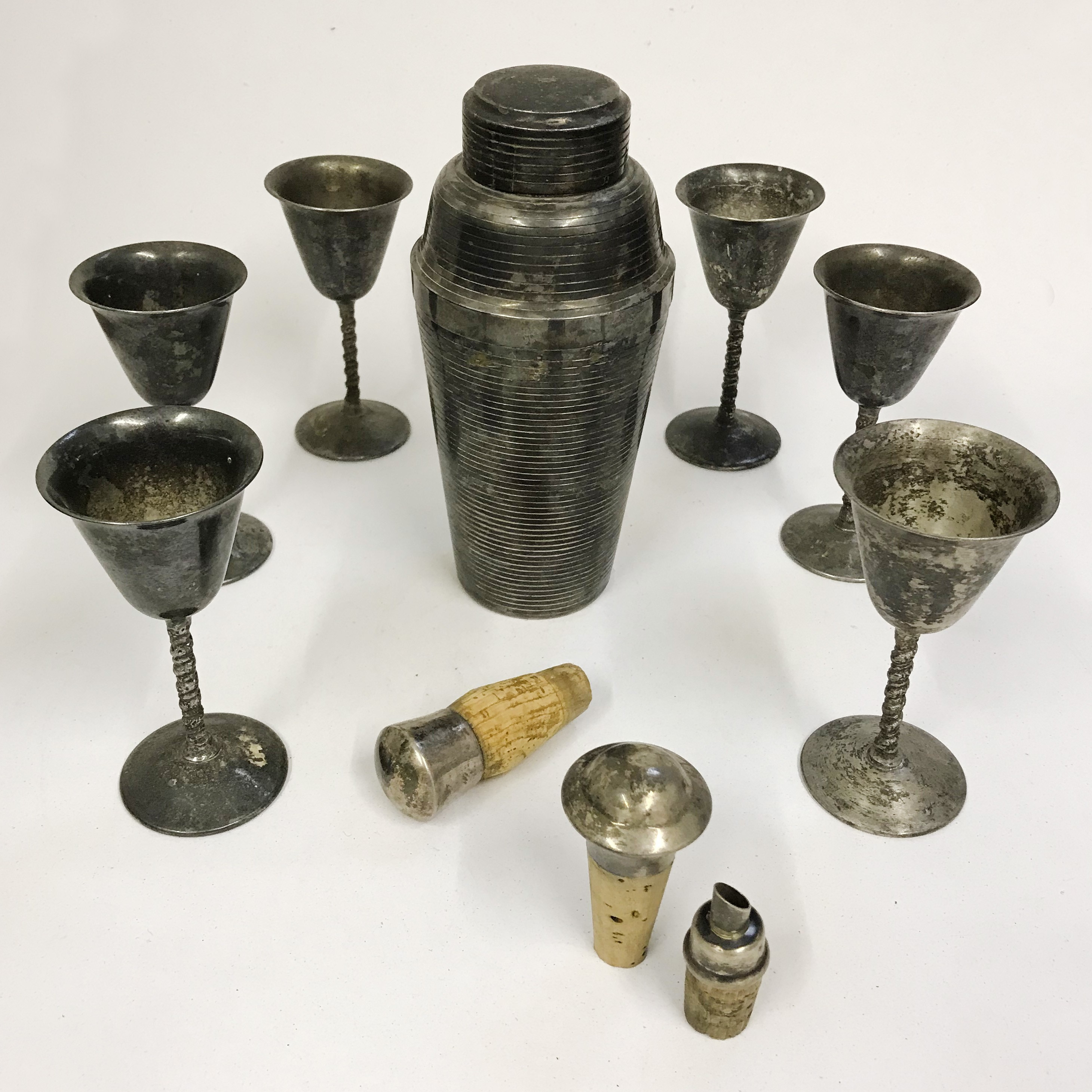 Lot 46 - Drinking Accessories - Vintage Cocktail Shaker, Six Goblets and Bottle Stoppers