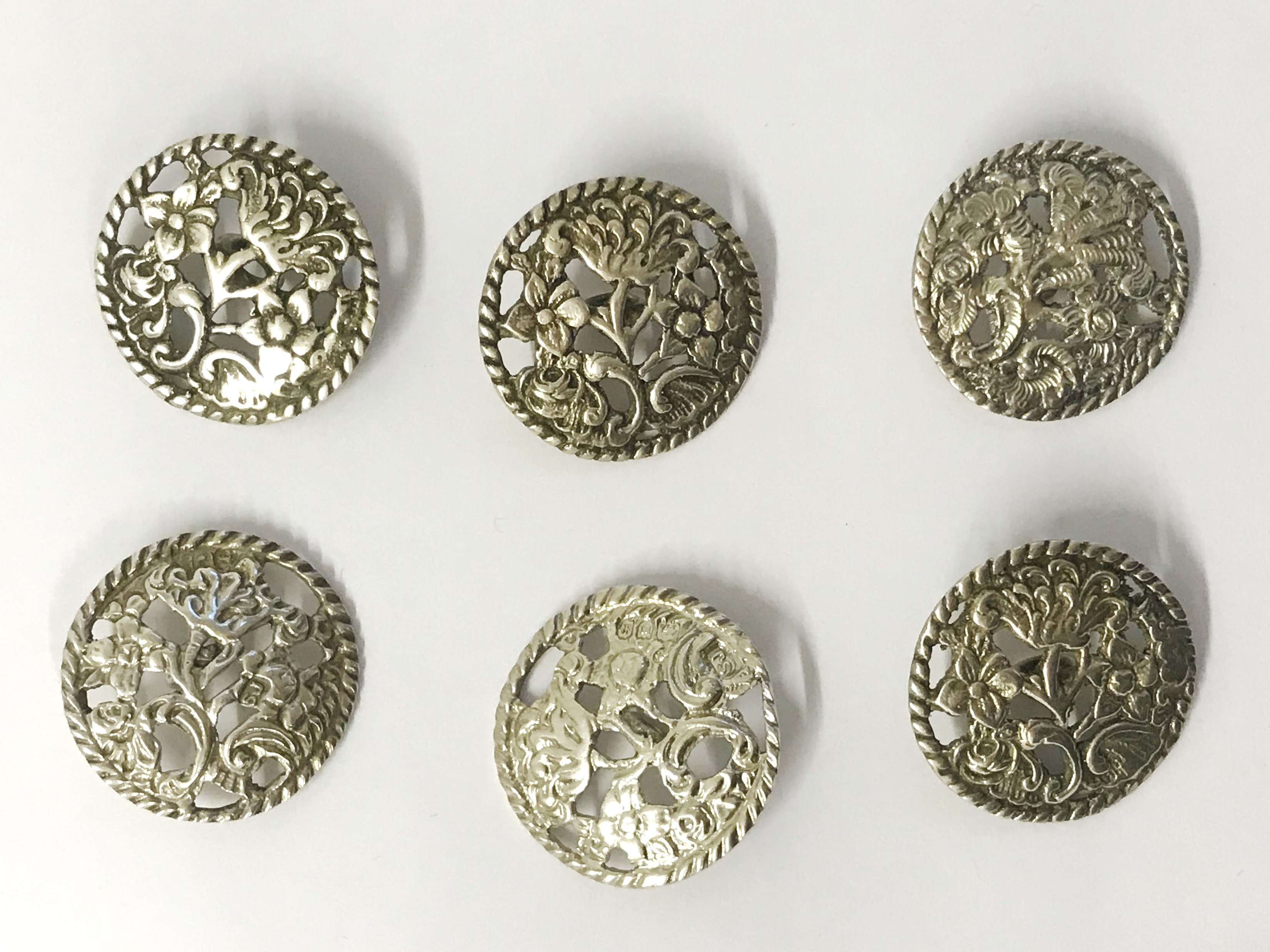 Lot 28 - Hallmarked Silver Six Buttons with Floral Pattern