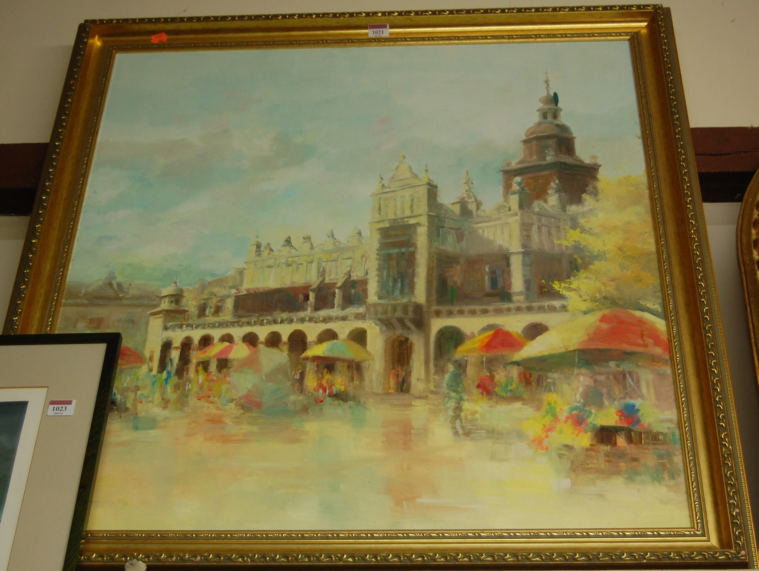 Lot 1021 - T Mikolatewski - piazza scene, oil on canvas, signed lower left, 80x77cm