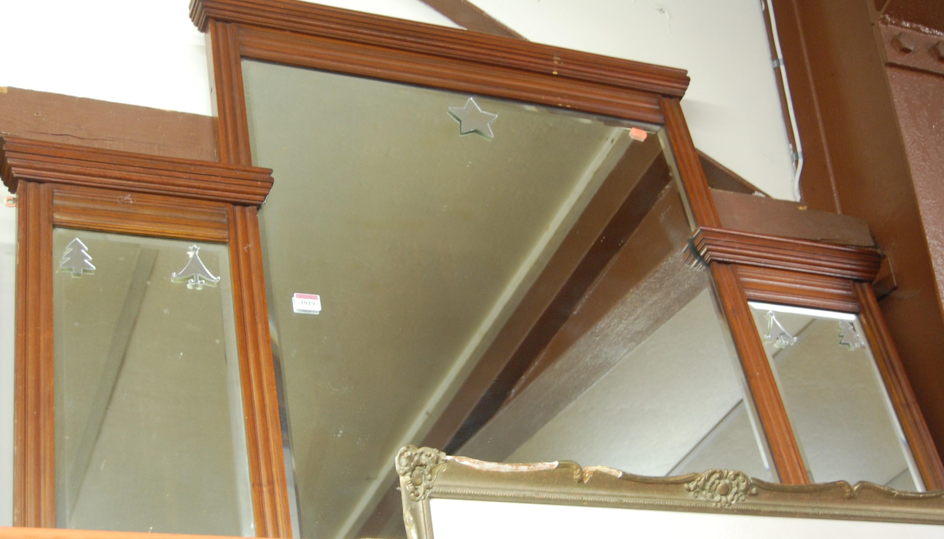 Lot 1019 - Circa 1900 walnut framed triptych overmantel mirror, width 122cm