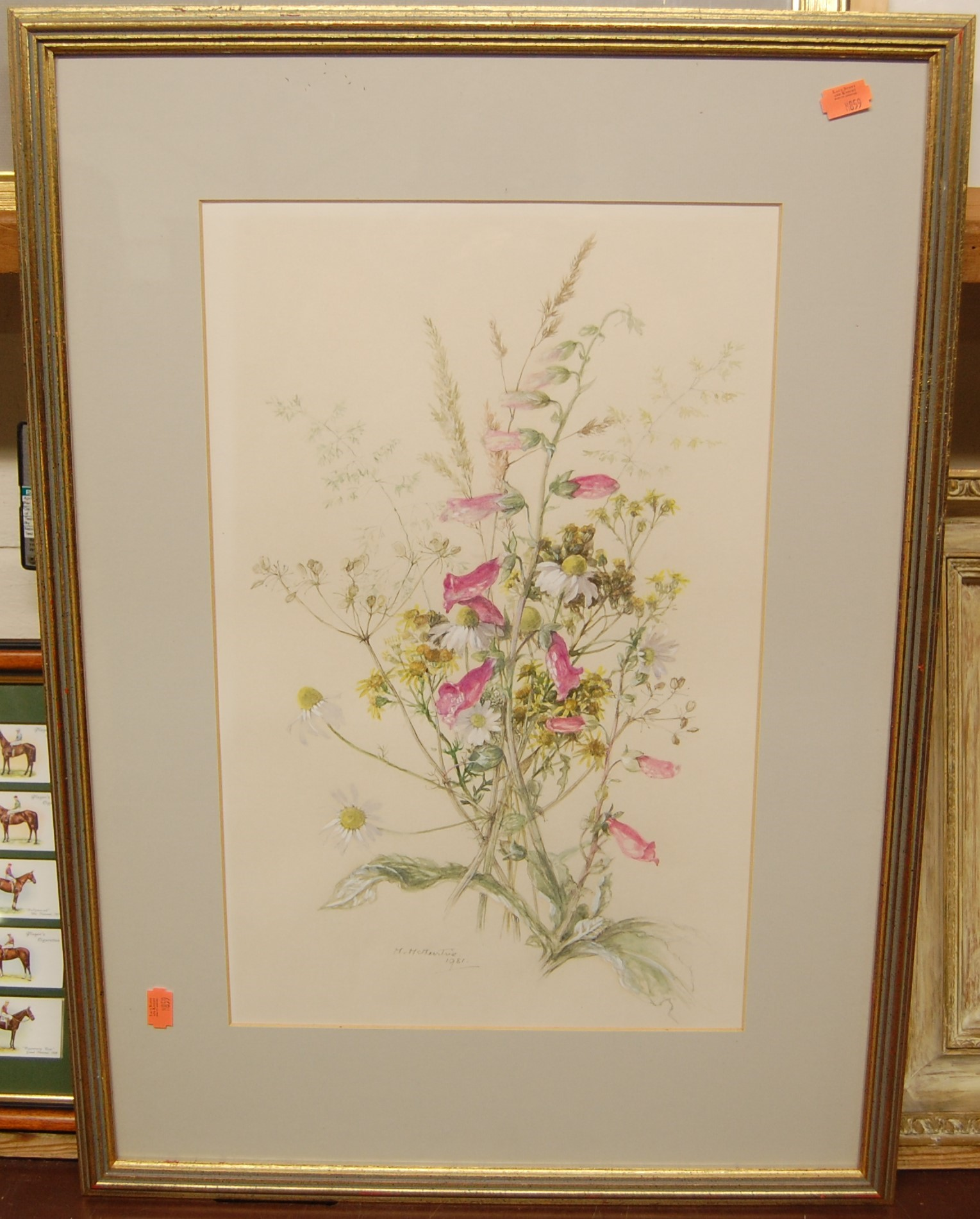 Lot 1044 - Assorted pictures and prints to include botanical watercolours
