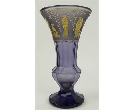 VASE, early 20th century by Moser, amethyst with gilded Grecian figural frieze, 24cm H.