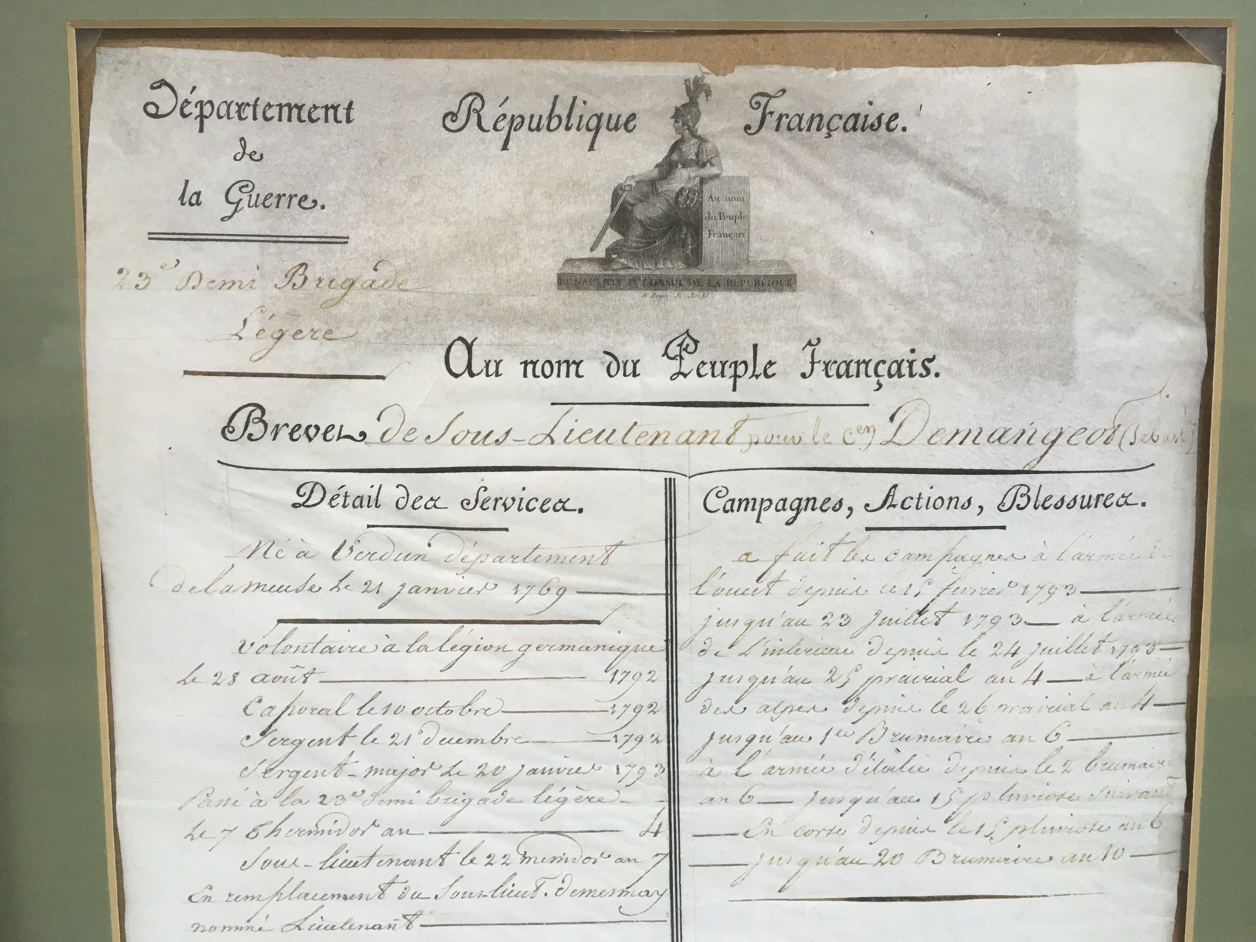 Lot 1643 - A framed French soldier's CV believed to be bearin