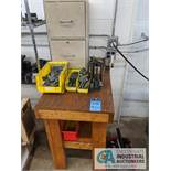 (LOT) ASSORTED HONE TOOLING IN TOTES AND CABINET WIHT BENCH