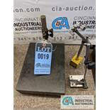 "9"" X 12"" GRANITE PLATE WITH DIAL INDICATOR AND (2) INDICATOR STANDS"