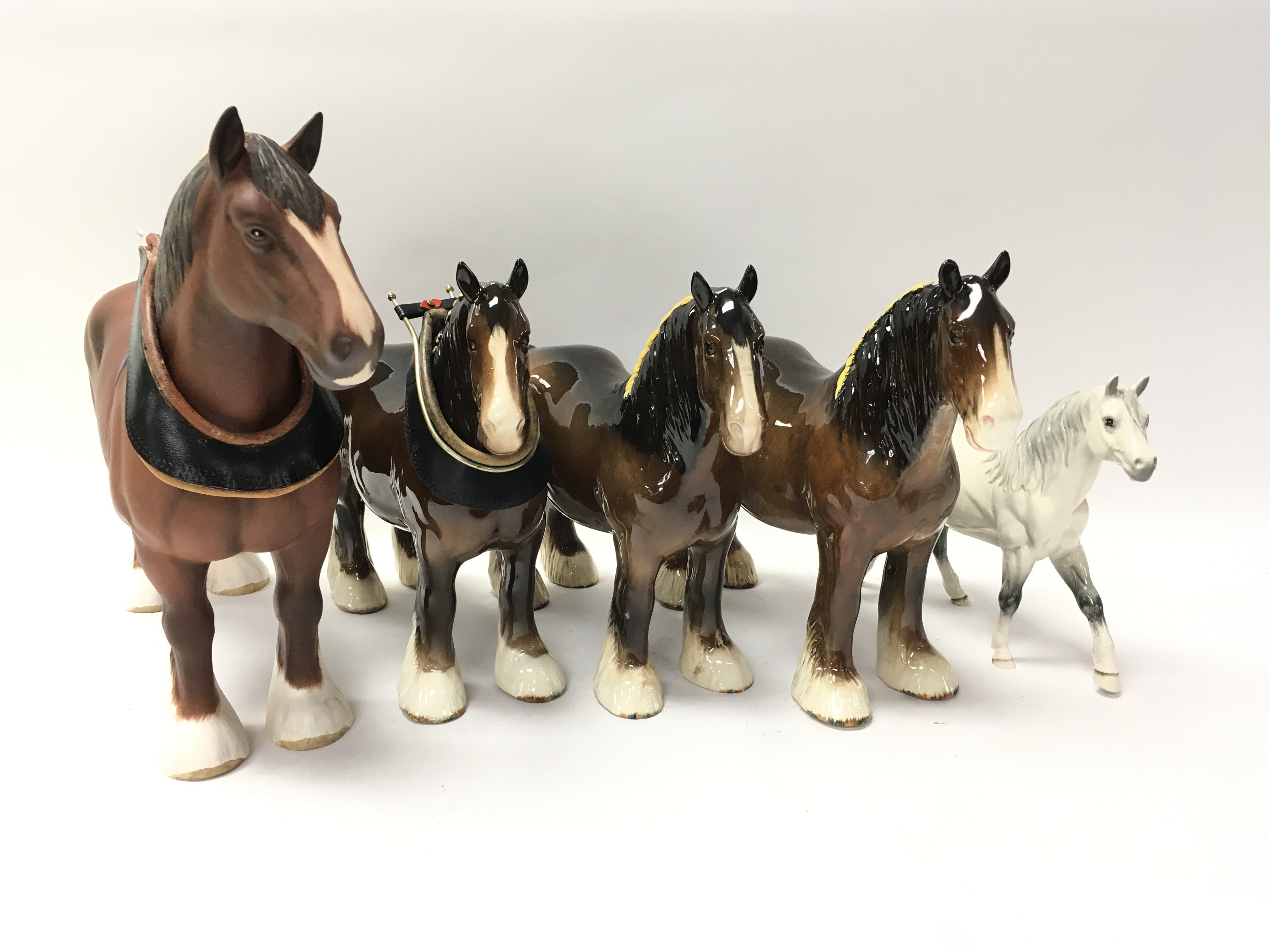 Five ornamental Beswick horses of various style -