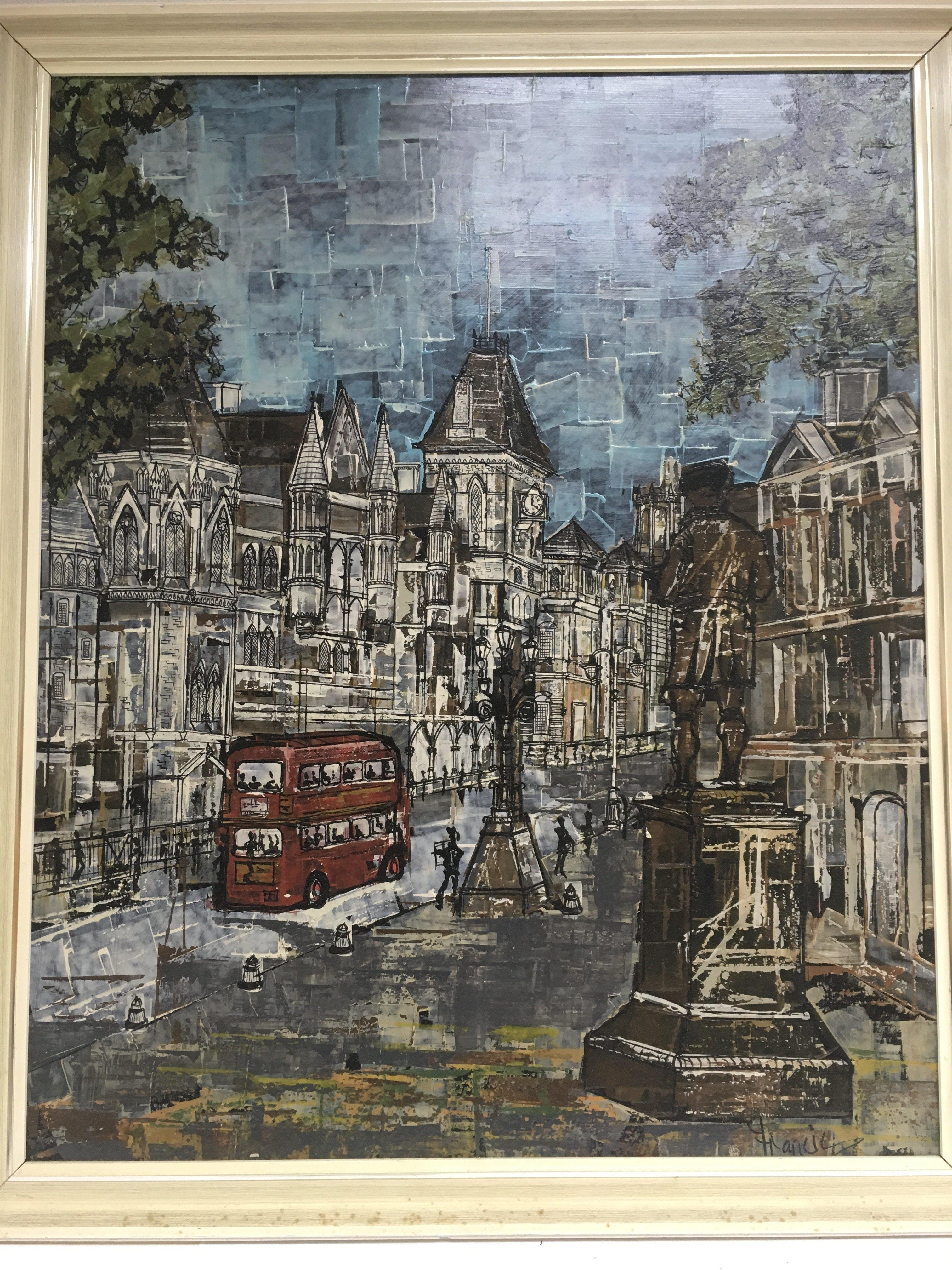 Lot 1239 - A framed oil on board of London depicting the law courts, approx