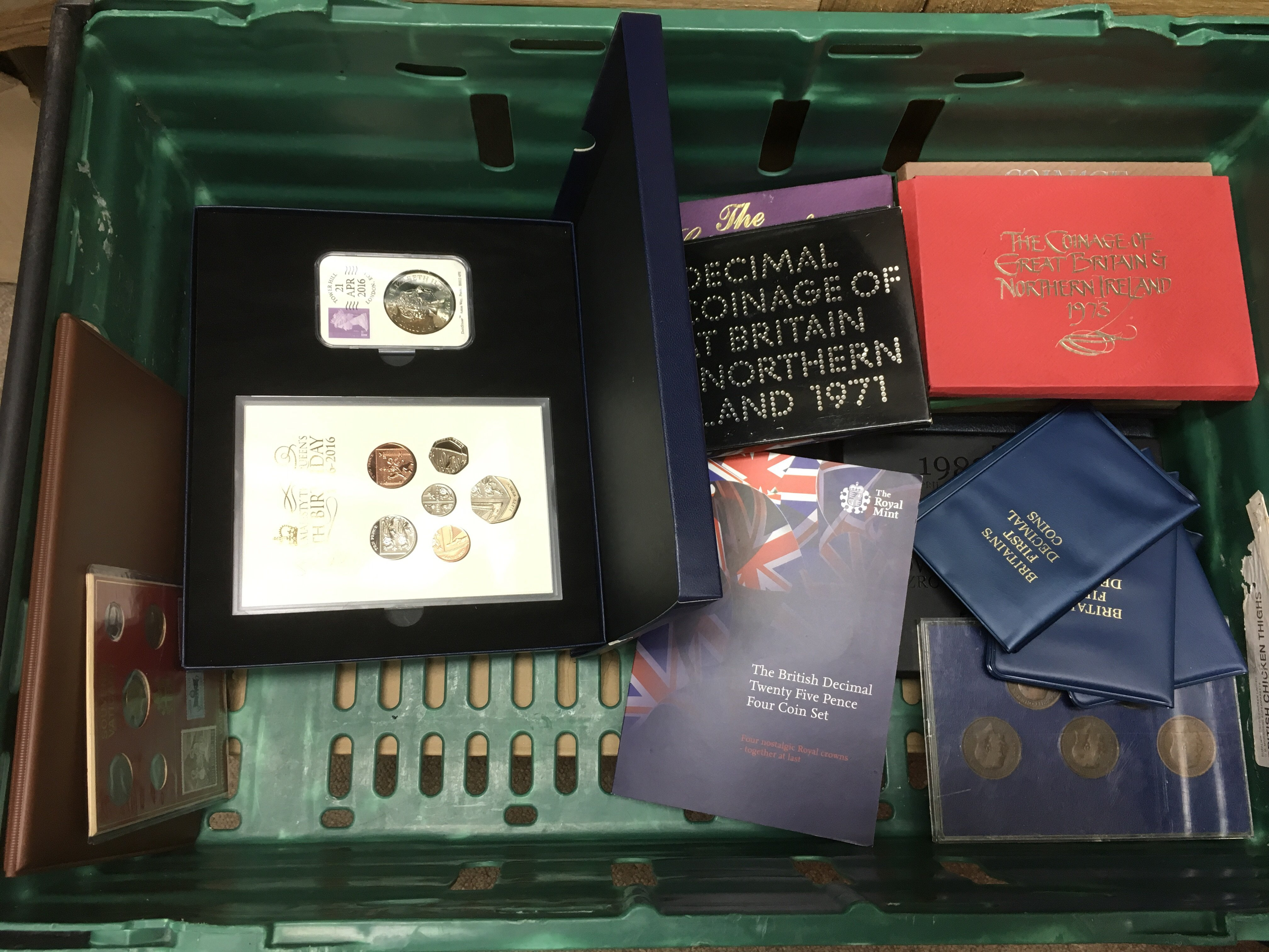 Lot 91 - A crate of Commemorative proof coins and coin cove