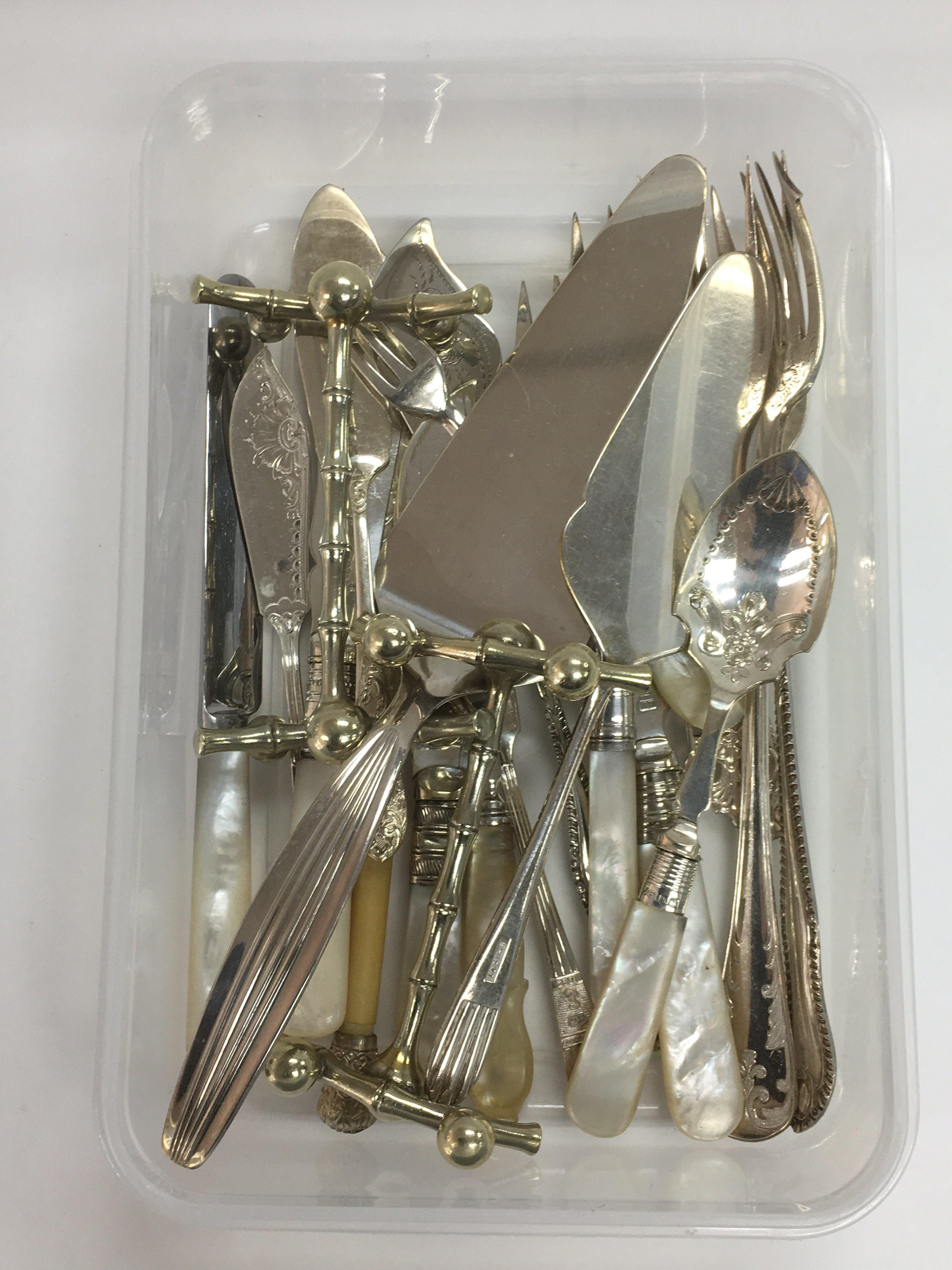 Lot 72 - A collection of silver plated cutlery, some with m