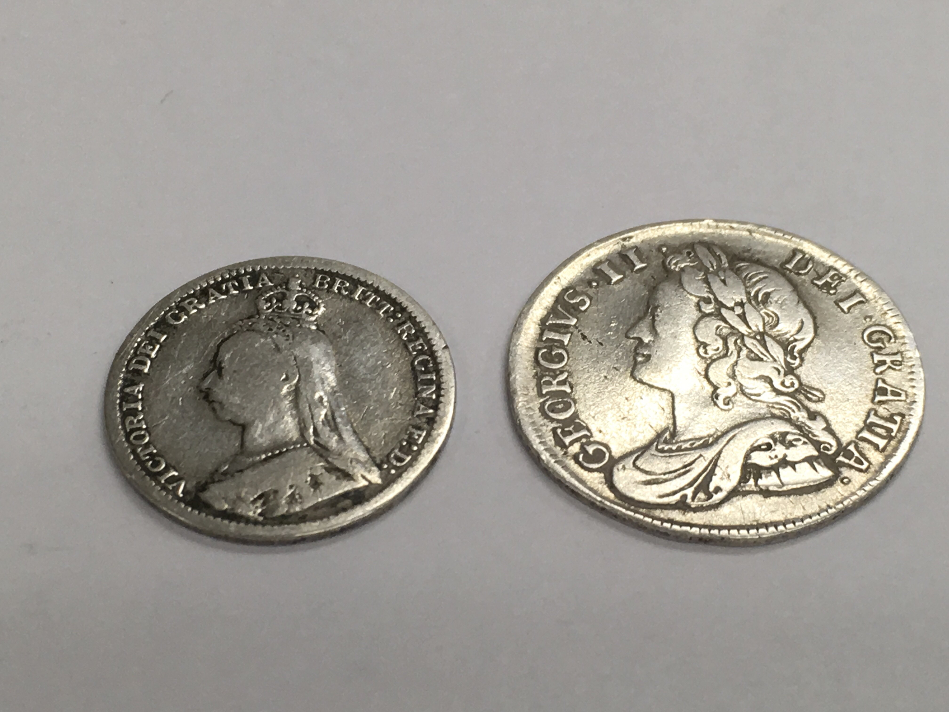 Lot 389 - A silver George II silver 4 pence dated 1737 toget