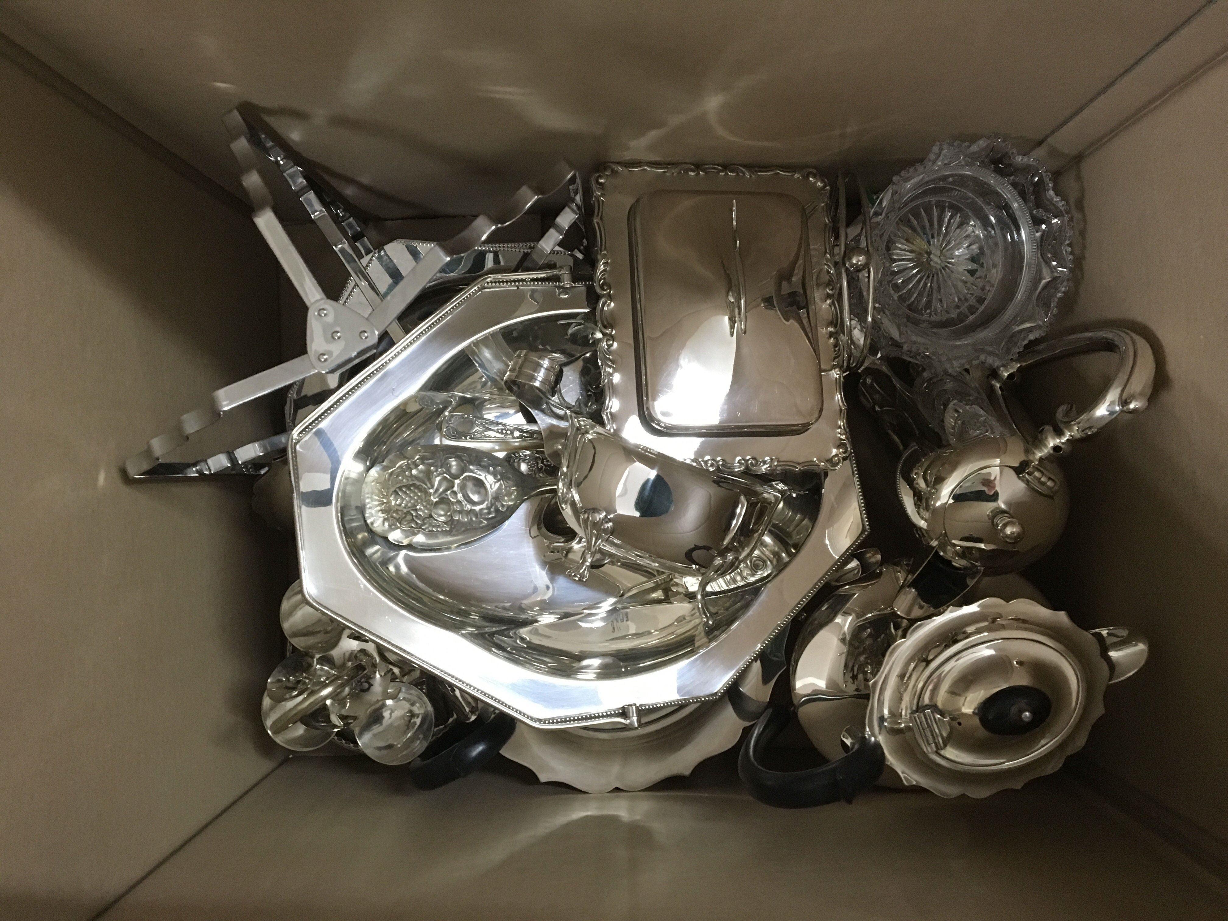 Lot 535 - A box of silver plated ware various