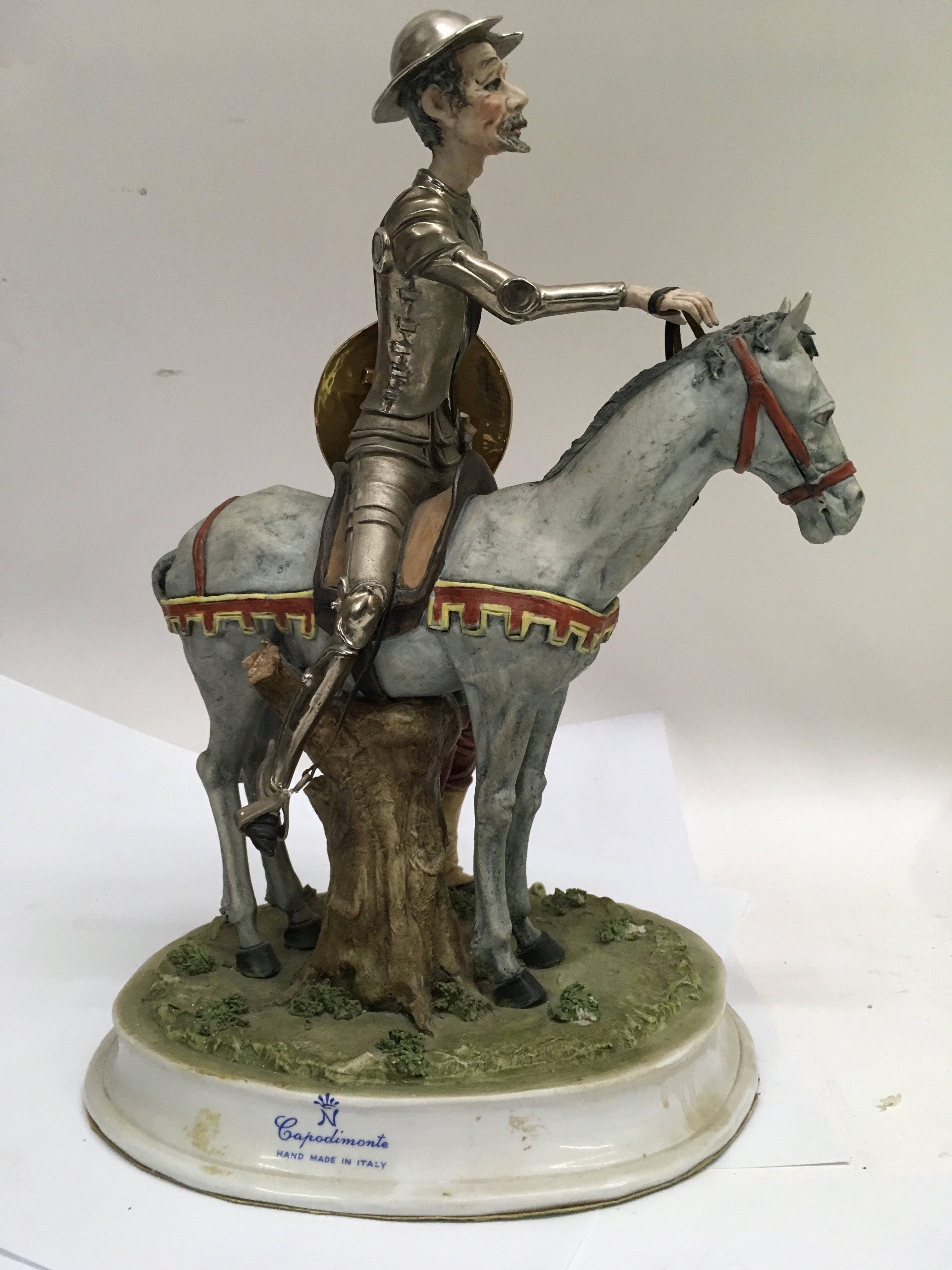 Lot 714 - A capodimonte figure figure on horse back - NO RES