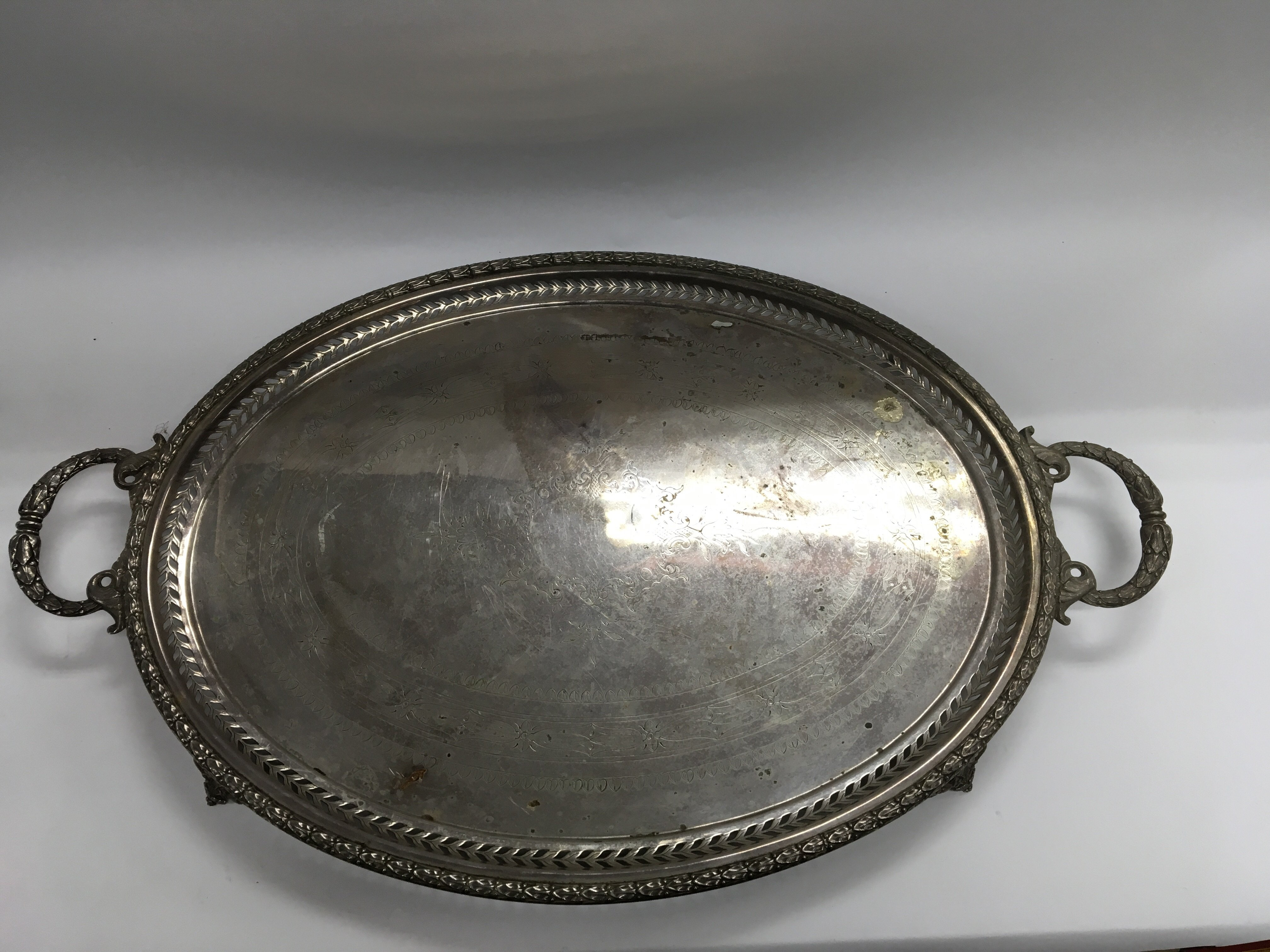 Lot 246 - A silver plated gallery tray with twin handles - N