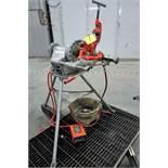 RIDGID 300 PIPE THREADER W/OIL PAN, STEEL PLATFORM AND PIPE STAND, S/N ED93370