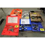 ASSORTED FLARING TOOLS, HOLE SAWS, BELTING, SPLICING HEATED TOOLS, RING PILERS, ETC