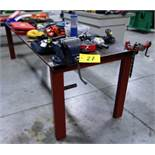 """34"""" X 9' LONG, STEEL SHOP TABLE, W/RIDGID PIPE VISE AND RECORD 6"""" BENCH VISE"""