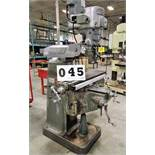 """HARTFORD Vertical Milling Machine, 9"""" x 42"""" Table, Mitutoyo 2-Axis DRO, Power Feed, 2HP"""