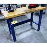 WOODEN TOP STEEL BASE SHOP TABLE