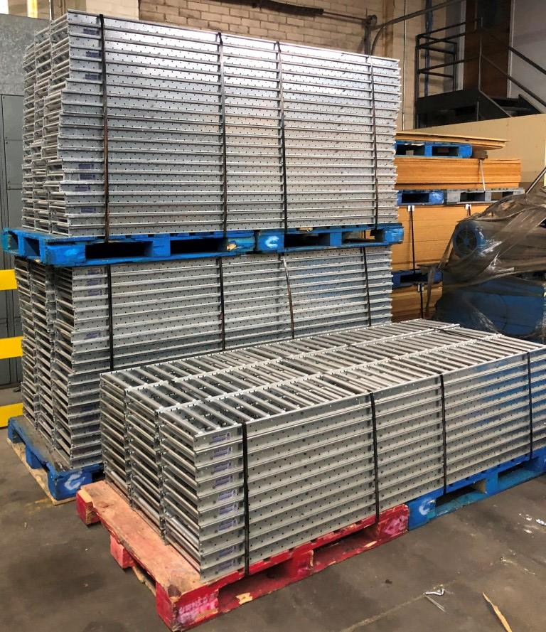 """Lot 8 - 11 BAYS OF 20'H X 42""""D X 96""""L USED TEARDROP STYLE PALLET RACKS WITH UNEX SPAN TRACK FLOW RAILS"""
