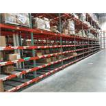 """11 BAYS OF 20'H X 42""""D X 96""""L USED TEARDROP STYLE PALLET RACKS WITH UNEX SPAN TRACK FLOW RAILS"""