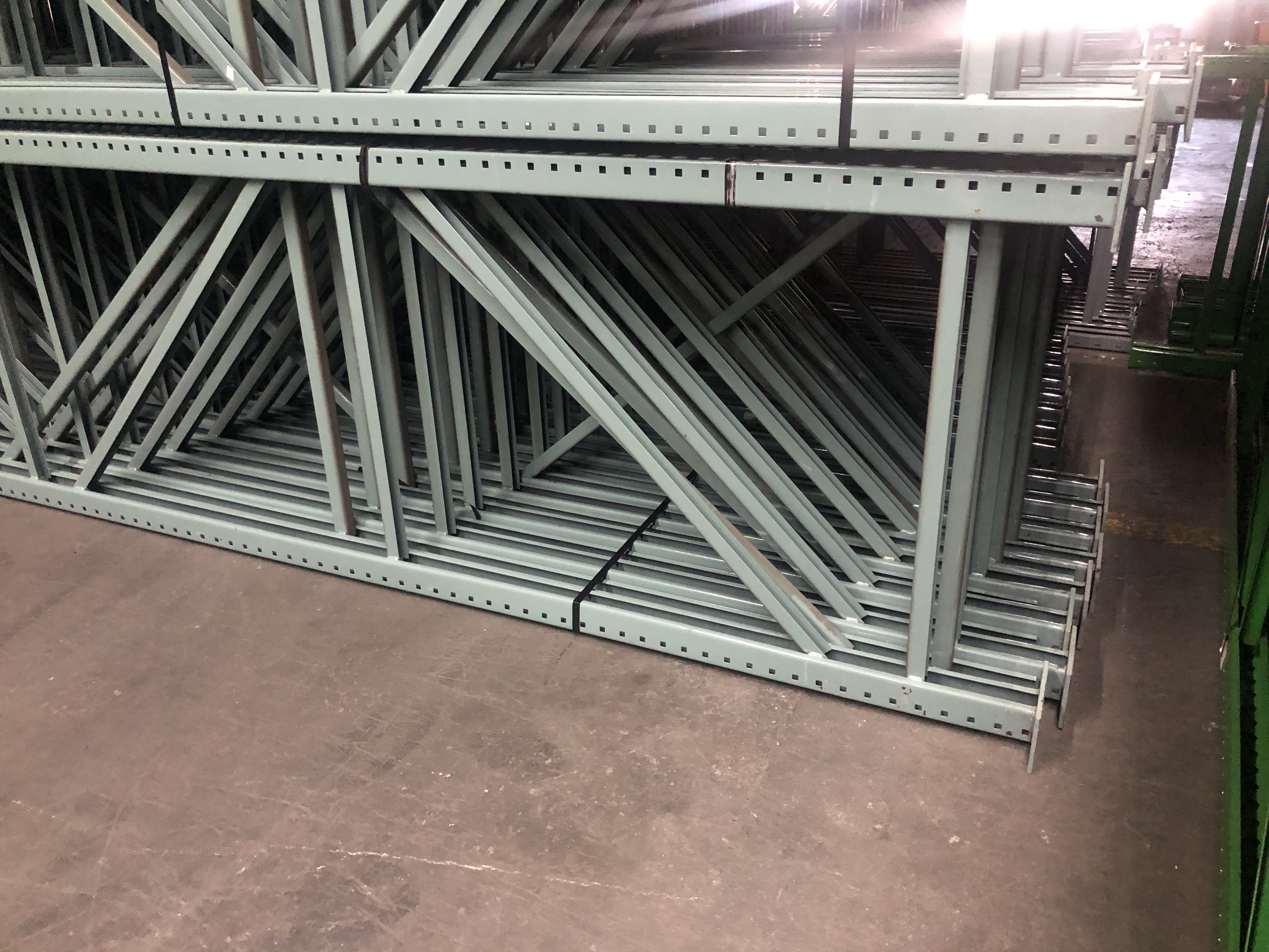 """Lot 9 - 11 BAYS OF 20'H X 42""""D X 96""""L USED TEARDROP STYLE PALLET RACKS WITH UNEX SPAN TRACK FLOW RAILS"""