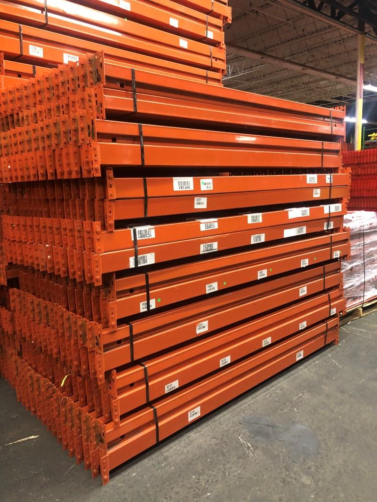 "Lot 5 - 14 BAYS OF 20'H X 42""D X 96""L USED TEARDROP STYLE PALLET RACKS"