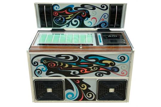 Rock-Ola 470 Jukebox, with psychedelic panels and integral